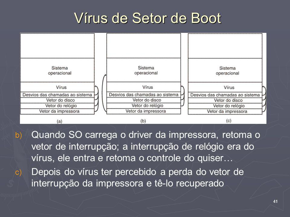41 b) b) Quando SO carrega o driver da impressora, retoma o vetor de interrupção; a interrupção de relógio era do vírus, ele entra e retoma o controle do quiser… c) c) Depois do vírus ter percebido a perda do vetor de interrupção da impressora e tê-lo recuperado Vírus de Setor de Boot