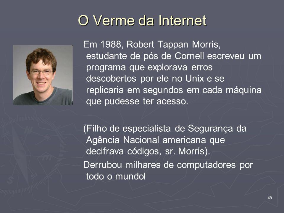45 O Verme da Internet Em 1988, Robert Tappan Morris, estudante de pós de Cornell escreveu um programa que explorava erros descobertos por ele no Unix e se replicaria em segundos em cada máquina que pudesse ter acesso.
