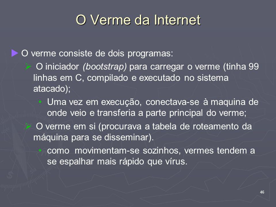 46 O Verme da Internet O verme consiste de dois programas: O iniciador (bootstrap) para carregar o verme (tinha 99 linhas em C, compilado e executado