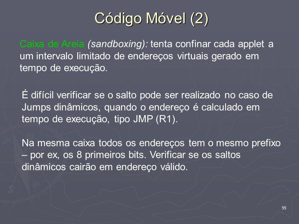 55 Código Móvel (2) Caixa de Areia (sandboxing): tenta confinar cada applet a um intervalo limitado de endereços virtuais gerado em tempo de execução.