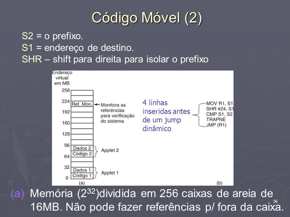 56 Código Móvel (2) (a) (a)Memória (2 32 )dividida em 256 caixas de areia de 16MB. Não pode fazer referências p/ fora da caixa. S2 = o prefixo. S1 = e