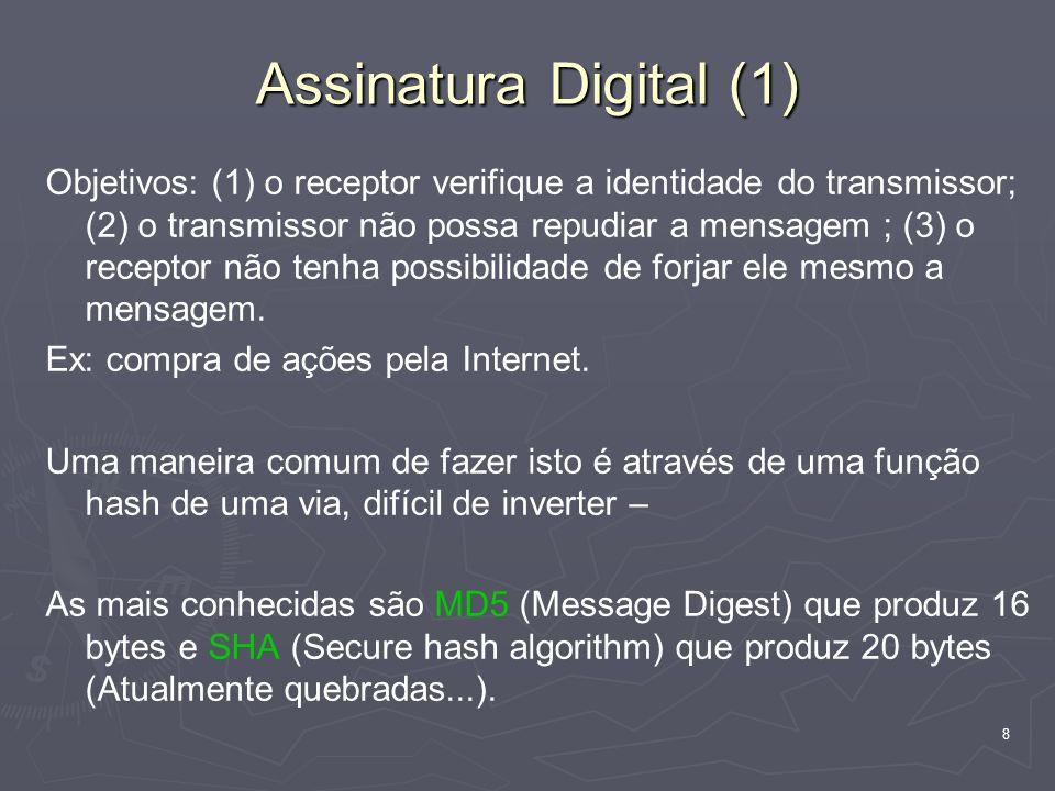 8 Assinatura Digital (1) Objetivos: (1) o receptor verifique a identidade do transmissor; (2) o transmissor não possa repudiar a mensagem ; (3) o receptor não tenha possibilidade de forjar ele mesmo a mensagem.