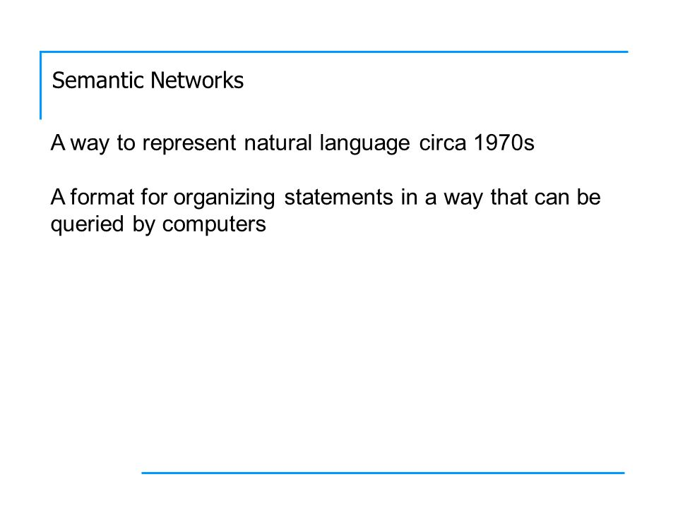 Semantic Networks A way to represent natural language circa 1970s A format for organizing statements in a way that can be queried by computers