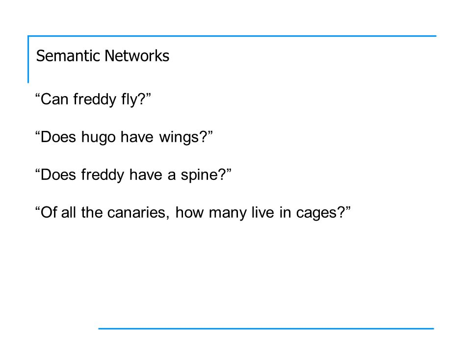 Semantic Networks Can freddy fly? Does hugo have wings? Does freddy have a spine? Of all the canaries, how many live in cages?