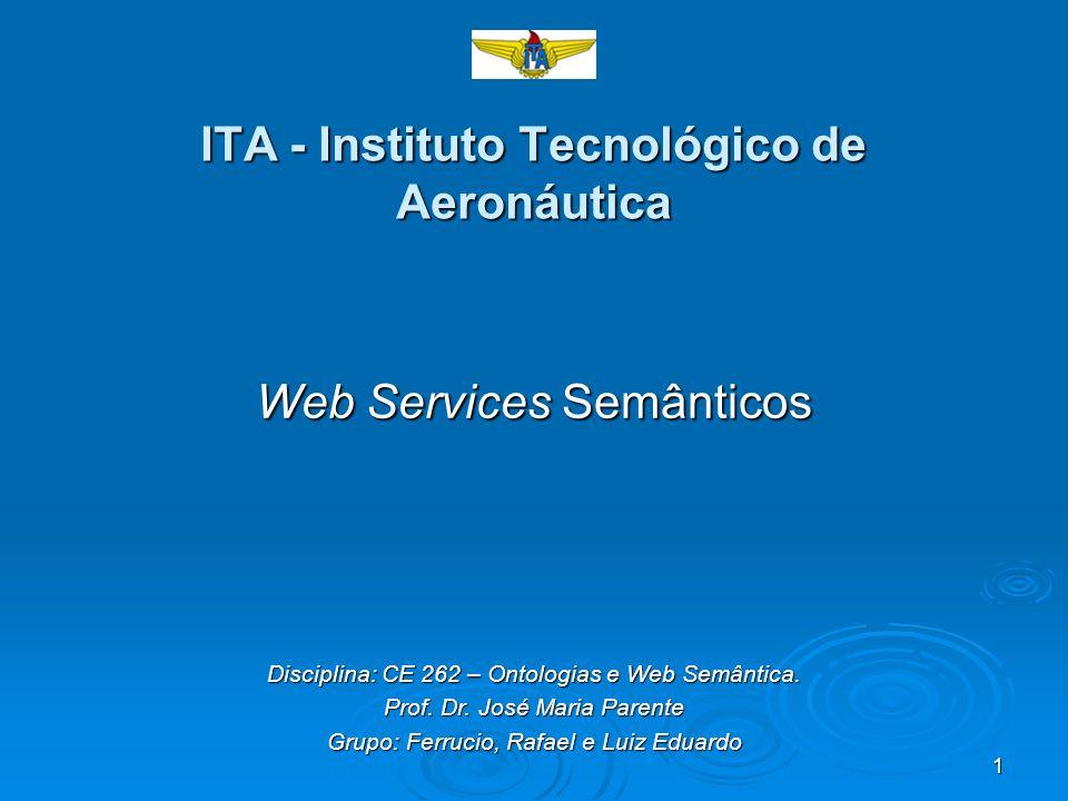 1 ITA - Instituto Tecnológico de Aeronáutica Web Services Semânticos Disciplina: CE 262 – Ontologias e Web Semântica. Prof. Dr. José Maria Parente Gru