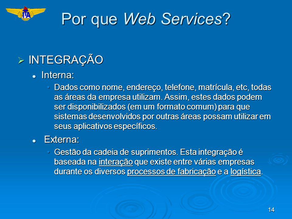 14 Por que Web Services? INTEGRAÇÃO INTEGRAÇÃO Interna: Interna: Dados como nome, endereço, telefone, matrícula, etc, todas as áreas da empresa utiliz