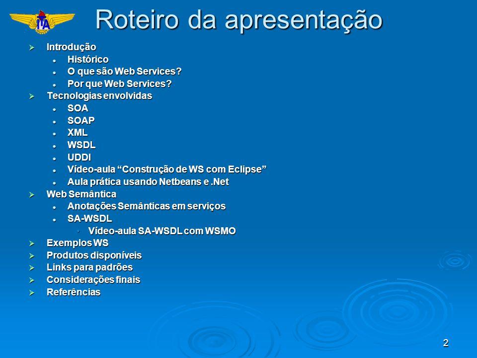2 Roteiro da apresentação Introdução Introdução Histórico Histórico O que são Web Services? O que são Web Services? Por que Web Services? Por que Web