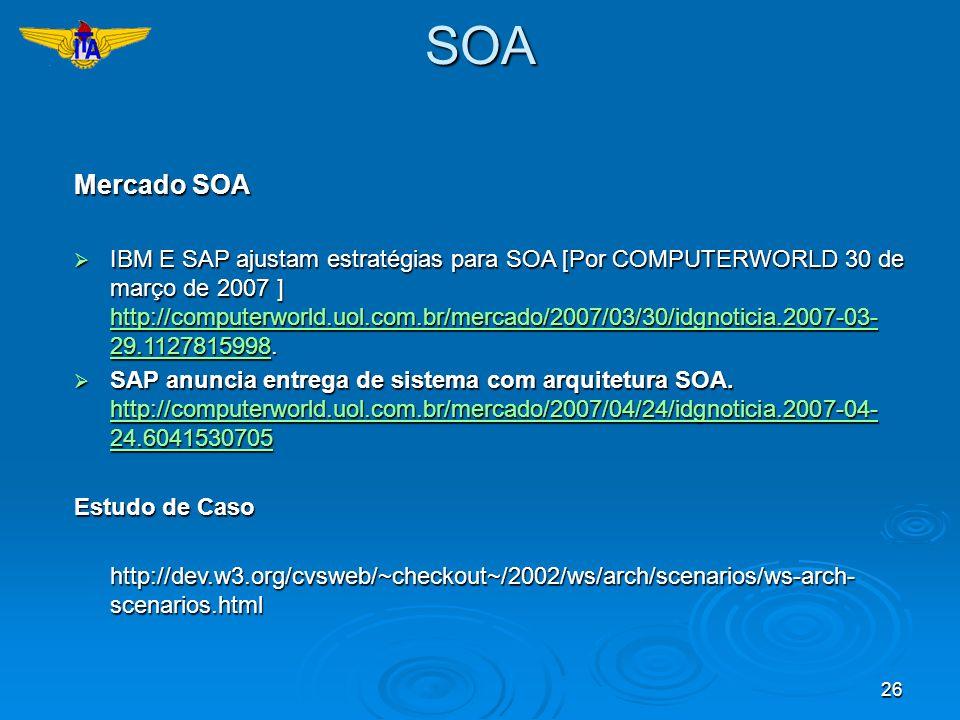 26SOA Mercado SOA IBM E SAP ajustam estratégias para SOA [Por COMPUTERWORLD 30 de março de 2007 ] http://computerworld.uol.com.br/mercado/2007/03/30/i