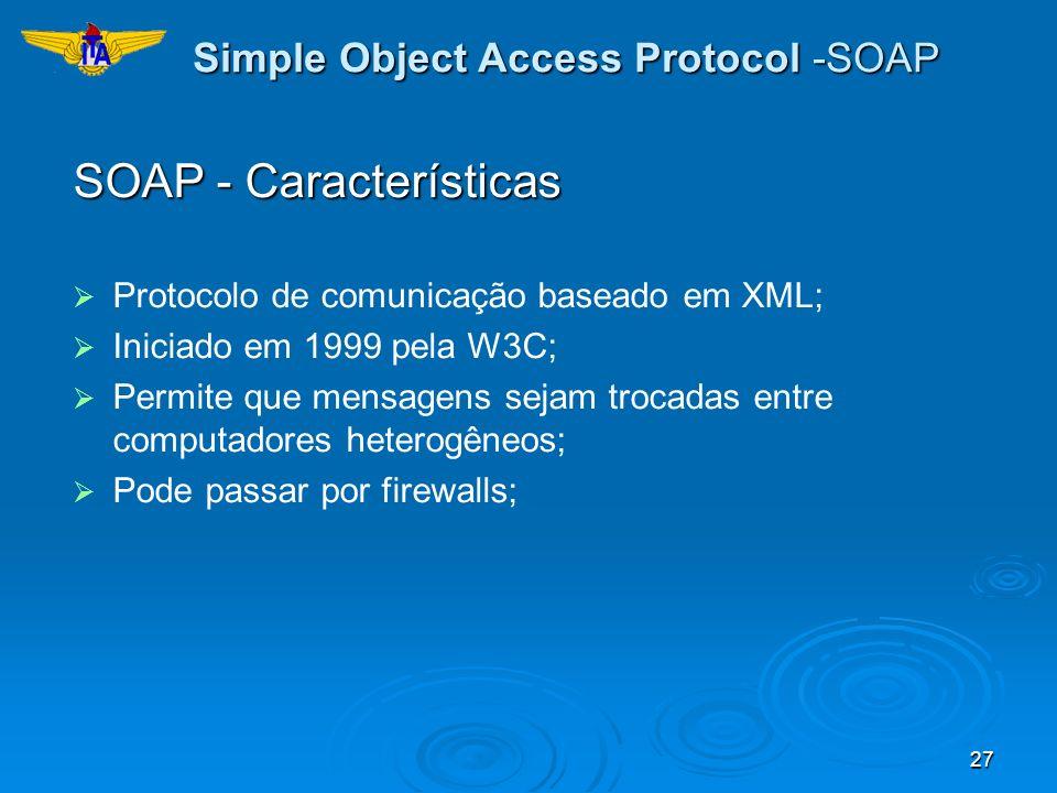 27 Simple Object Access Protocol -SOAP SOAP - Características Protocolo de comunicação baseado em XML; Iniciado em 1999 pela W3C; Permite que mensagen