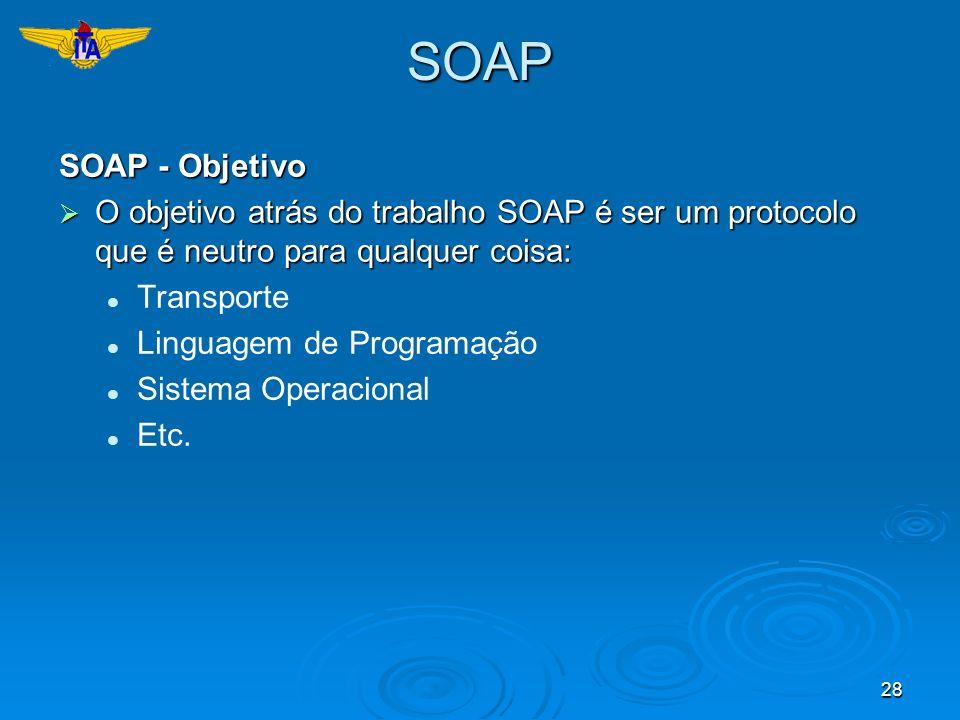 28SOAP SOAP - Objetivo O objetivo atrás do trabalho SOAP é ser um protocolo que é neutro para qualquer coisa: O objetivo atrás do trabalho SOAP é ser