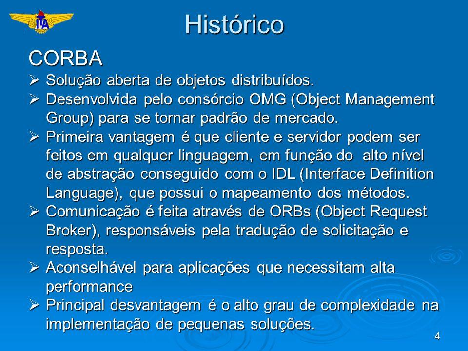 4HistóricoCORBA Solução aberta de objetos distribuídos. Solução aberta de objetos distribuídos. Desenvolvida pelo consórcio OMG (Object Management Gro