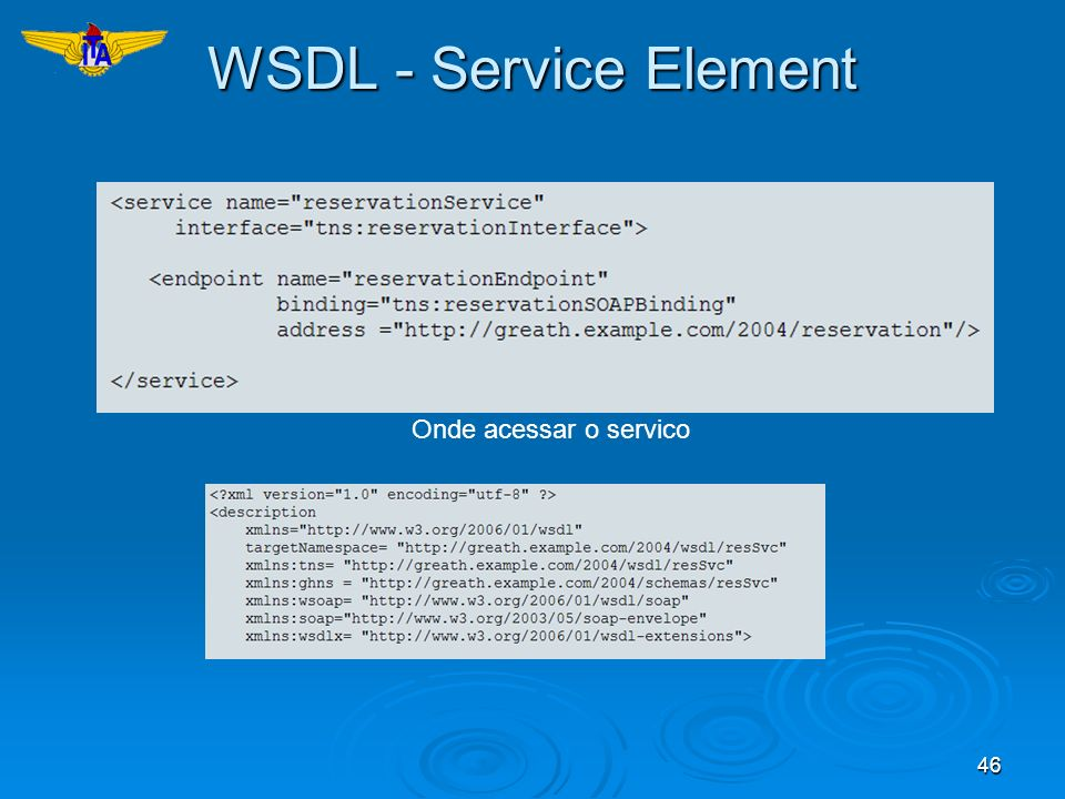 46 WSDL - Service Element Onde acessar o servico