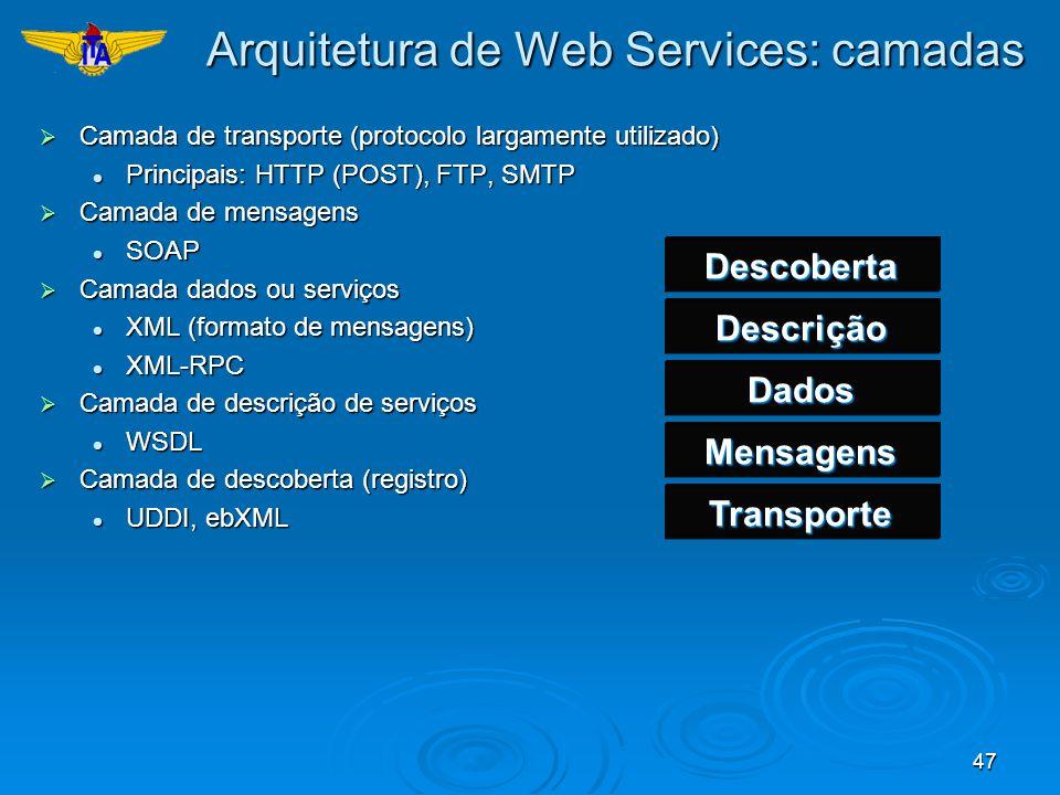 47 Arquitetura de Web Services: camadas Camada de transporte (protocolo largamente utilizado) Camada de transporte (protocolo largamente utilizado) Pr