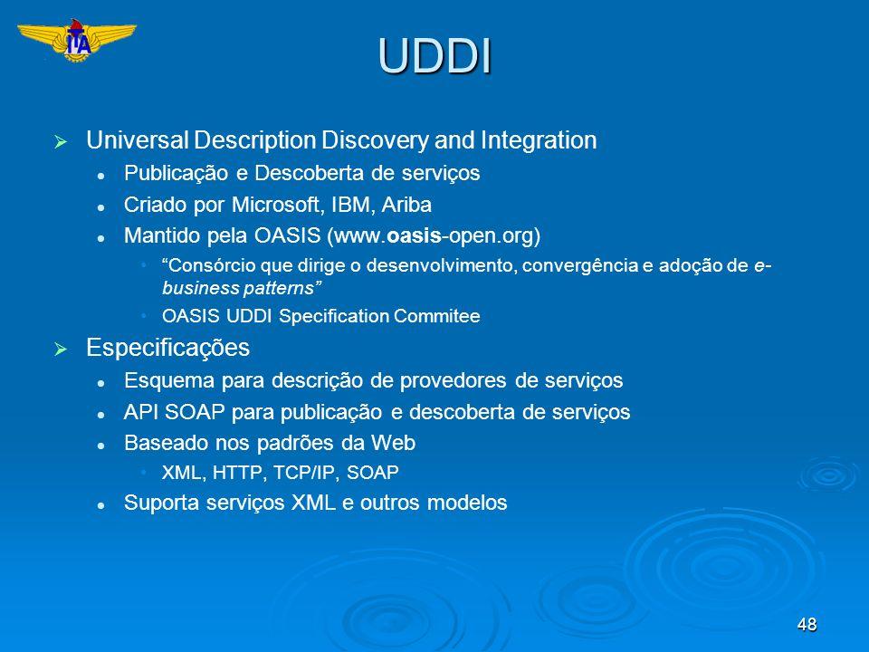 48UDDI Universal Description Discovery and Integration Publicação e Descoberta de serviços Criado por Microsoft, IBM, Ariba Mantido pela OASIS (www.oa