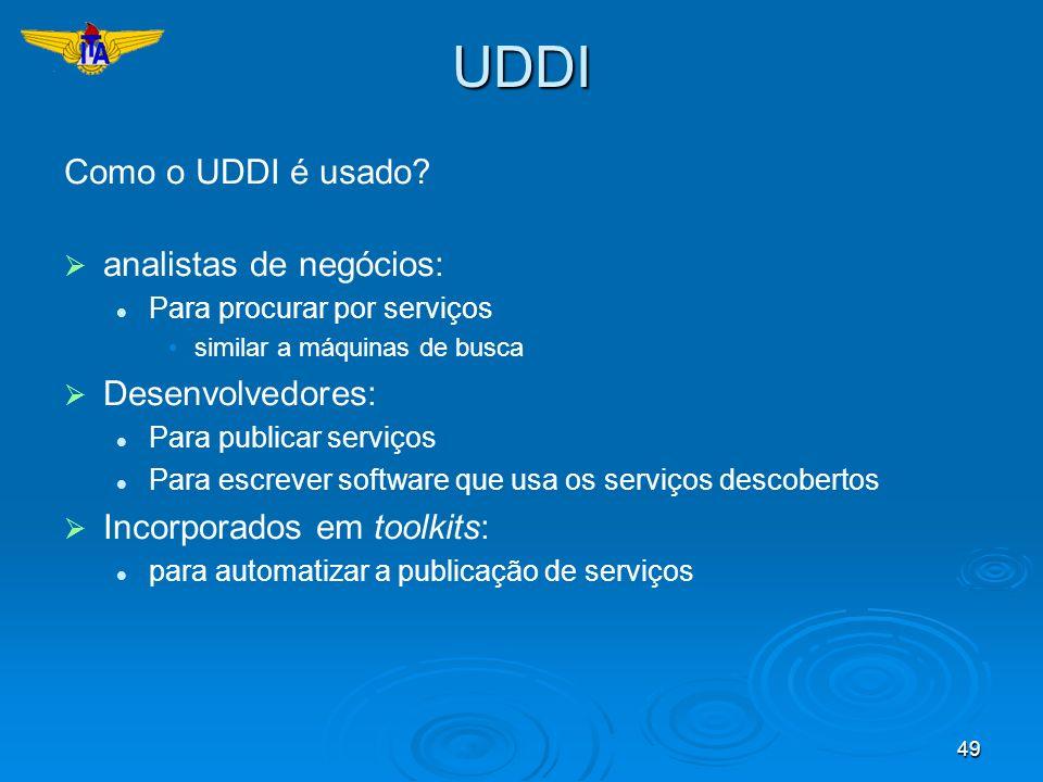 49UDDI Como o UDDI é usado? analistas de negócios: Para procurar por serviços similar a máquinas de busca Desenvolvedores: Para publicar serviços Para