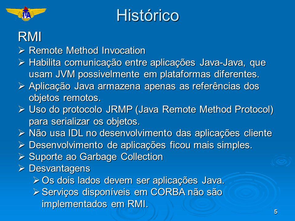 5HistóricoRMI Remote Method Invocation Remote Method Invocation Habilita comunicação entre aplicações Java-Java, que usam JVM possivelmente em platafo