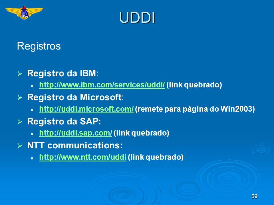 59UDDI Registros Registro da IBM: http://www.ibm.com/services/uddi/ (link quebrado) http://www.ibm.com/services/uddi/ Registro da Microsoft: http://ud