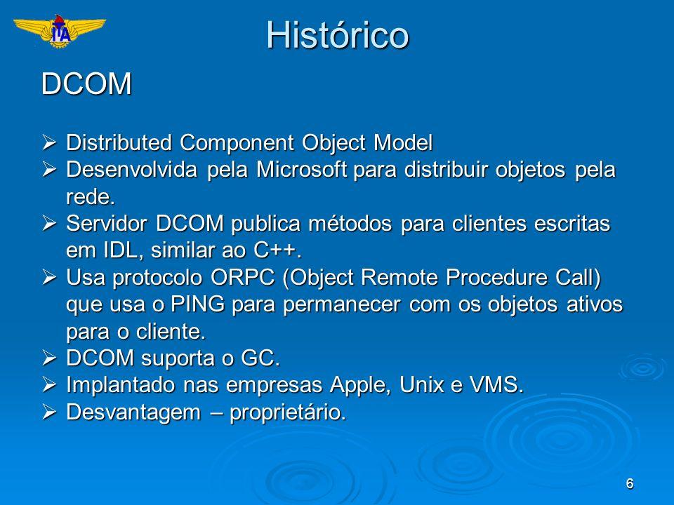 6HistóricoDCOM Distributed Component Object Model Distributed Component Object Model Desenvolvida pela Microsoft para distribuir objetos pela rede. De