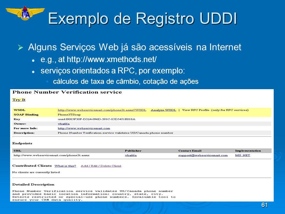 61 Exemplo de Registro UDDI Alguns Serviços Web já são acessíveis na Internet e.g., at http://www.xmethods.net/ serviços orientados a RPC, por exemplo