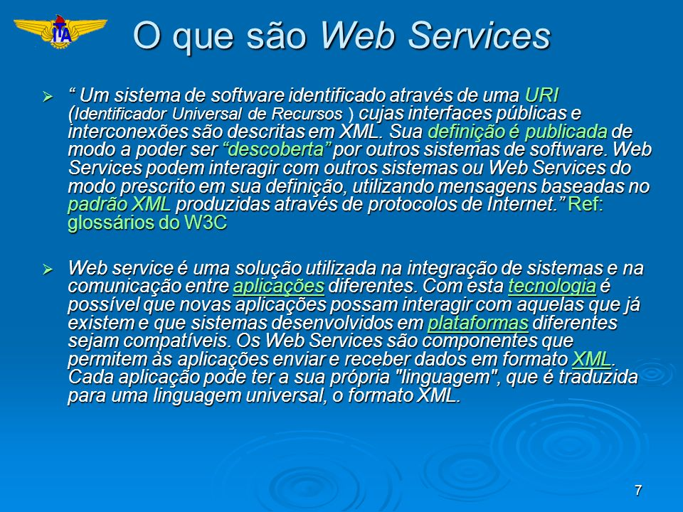 38 Exemplo: WSDL <definitions name= BookstoreService targetNamespace= http://mybooks.org/wsdl xmlns:tns= http://mybooks.org/wsdl xmlns= http://schemas.xmlsoap.org/wsdl/ xmlns:soap= http://schemas.xmlsoap.org/wsdl/soap/ xmlns:xsd= http://www.w3.org/2001/XMLSchema >......