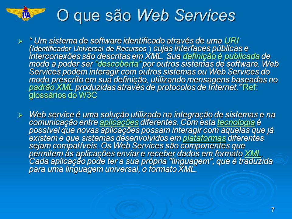 7 O que são Web Services Um sistema de software identificado através de uma URI ( Identificador Universal de Recursos cujas interfaces públicas e inte
