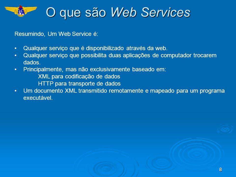 8 O que são Web Services Resumindo, Um Web Service é: Qualquer serviço que é disponibilizado através da web. Qualquer serviço que possibilita duas apl