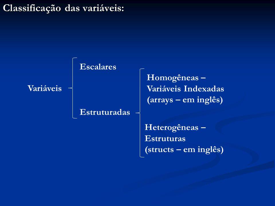 Classificação das variáveis: Variáveis Escalares Estruturadas Homogêneas – Variáveis Indexadas (arrays – em inglês) Heterogêneas – Estruturas (structs – em inglês)