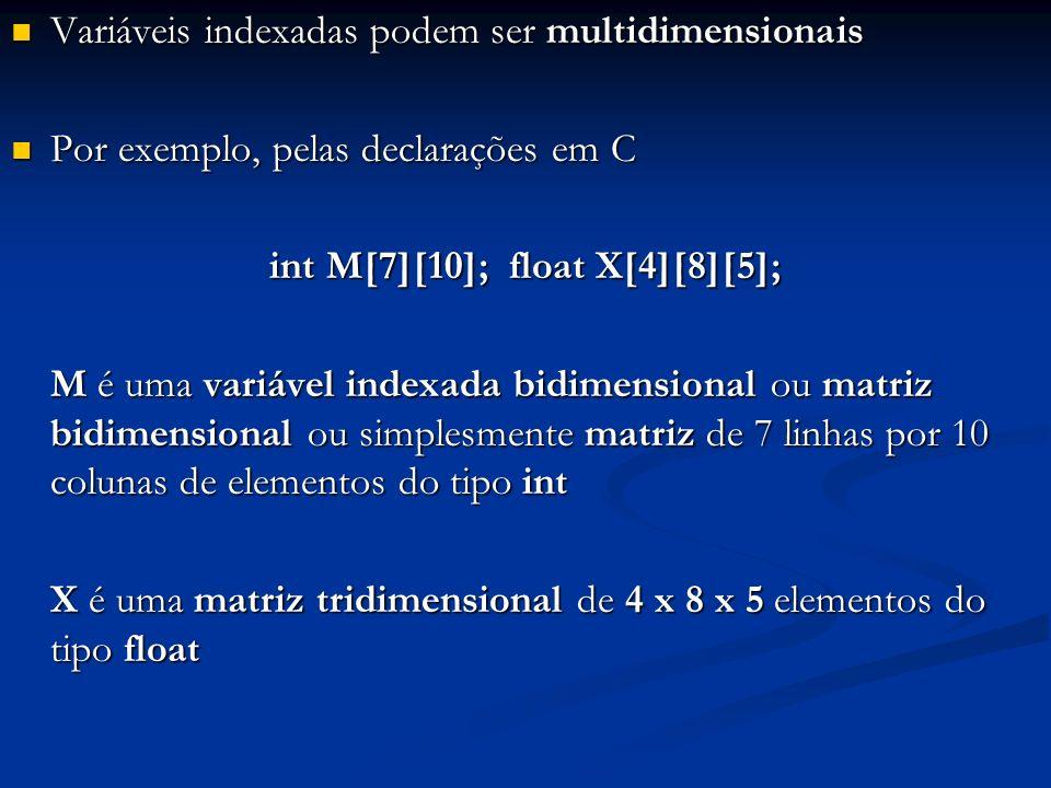 Variáveis indexadas podem ser multidimensionais Variáveis indexadas podem ser multidimensionais Por exemplo, pelas declarações em C Por exemplo, pelas declarações em C int M[7][10]; float X[4][8][5]; M é uma variável indexada bidimensional ou matriz bidimensional ou simplesmente matriz de 7 linhas por 10 colunas de elementos do tipo int X é uma matriz tridimensional de 4 x 8 x 5 elementos do tipo float
