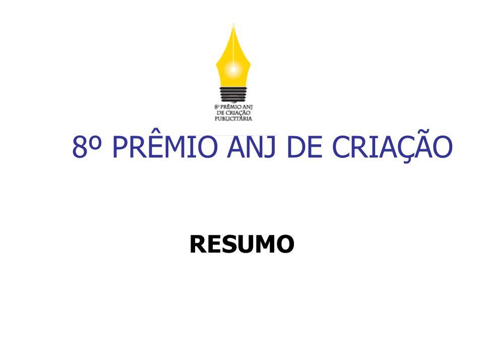 8ª EDIÇÃO DO PRÊMIO ANJ DE CRIAÇÃO PUBLICITÁRIA 941 Inscrições recebidas, sendo 28 de Estudantes de Comunicação Social do Curso de Publicidade e Propaganda, formandos de 2009.