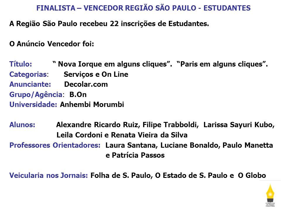 FINALISTA – VENCEDOR REGIÃO SÃO PAULO - ESTUDANTES A Região São Paulo recebeu 22 inscrições de Estudantes. O Anúncio Vencedor foi: Título: Nova Iorque