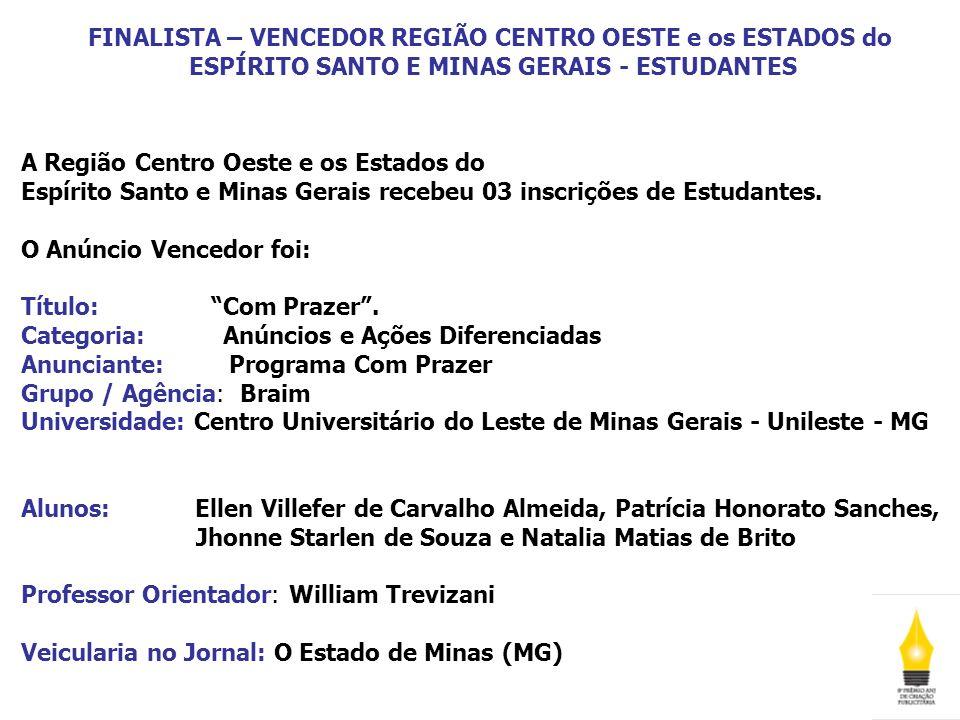 FINALISTA – VENCEDOR REGIÃO CENTRO OESTE e os ESTADOS do ESPÍRITO SANTO E MINAS GERAIS - ESTUDANTES A Região Centro Oeste e os Estados do Espírito San