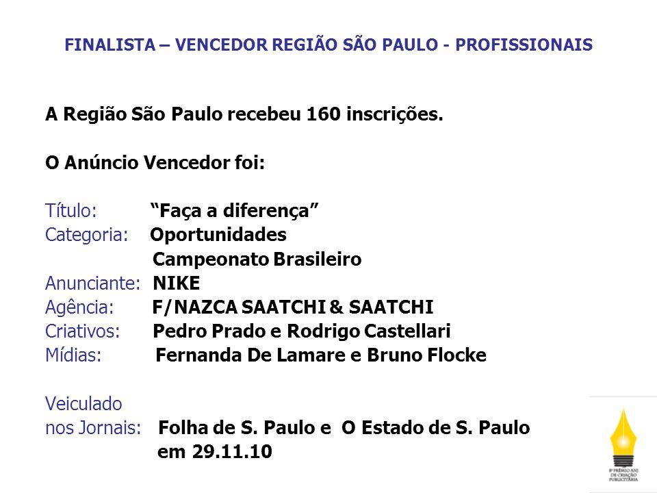 FINALISTA – VENCEDOR REGIÃO SÃO PAULO - PROFISSIONAIS A Região São Paulo recebeu 160 inscrições. O Anúncio Vencedor foi: Título: Faça a diferença Cate