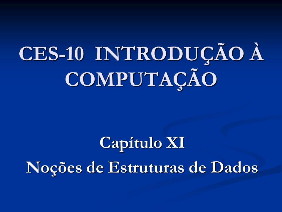 CES-10 INTRODUÇÃO À COMPUTAÇÃO Capítulo XI Noções de Estruturas de Dados