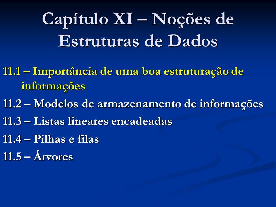 Capítulo XI – Noções de Estruturas de Dados 11.1 – Importância de uma boa estruturação de informações 11.2 – Modelos de armazenamento de informações 1