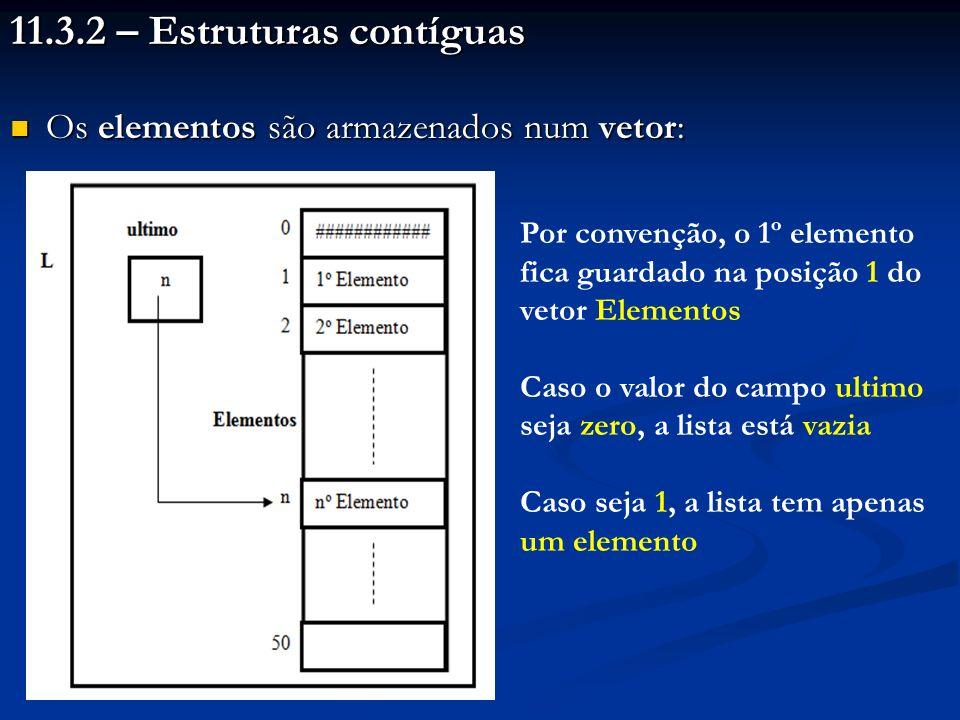 11.3.2 – Estruturas contíguas Os elementos são armazenados num vetor: Os elementos são armazenados num vetor: Por convenção, o 1º elemento fica guardado na posição 1 do vetor Elementos Caso o valor do campo ultimo seja zero, a lista está vazia Caso seja 1, a lista tem apenas um elemento