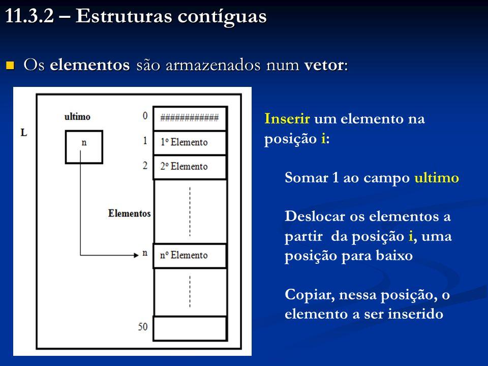 11.3.2 – Estruturas contíguas Os elementos são armazenados num vetor: Os elementos são armazenados num vetor: Inserir um elemento na posição i: Somar 1 ao campo ultimo Deslocar os elementos a partir da posição i, uma posição para baixo Copiar, nessa posição, o elemento a ser inserido