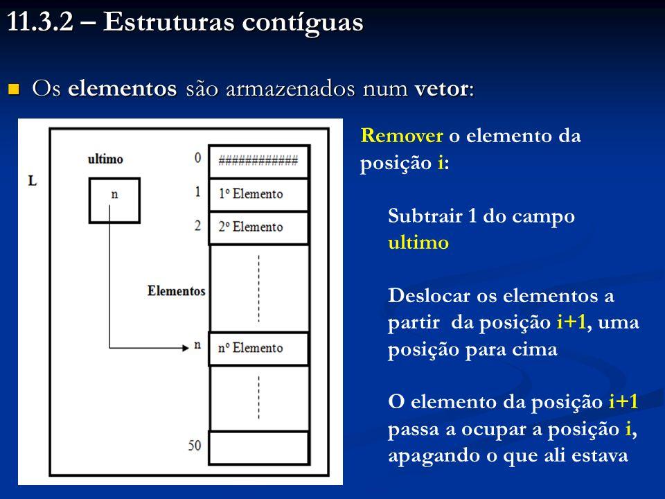 11.3.2 – Estruturas contíguas Os elementos são armazenados num vetor: Os elementos são armazenados num vetor: Remover o elemento da posição i: Subtrair 1 do campo ultimo Deslocar os elementos a partir da posição i+1, uma posição para cima O elemento da posição i+1 passa a ocupar a posição i, apagando o que ali estava