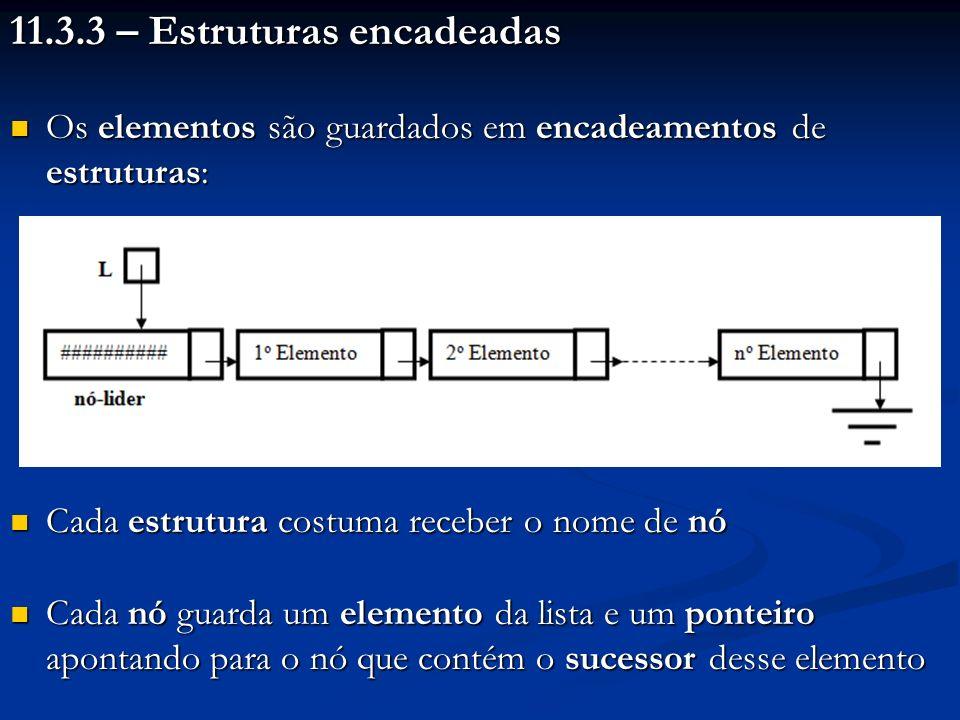 11.3.3 – Estruturas encadeadas Os elementos são guardados em encadeamentos de estruturas: Os elementos são guardados em encadeamentos de estruturas: C