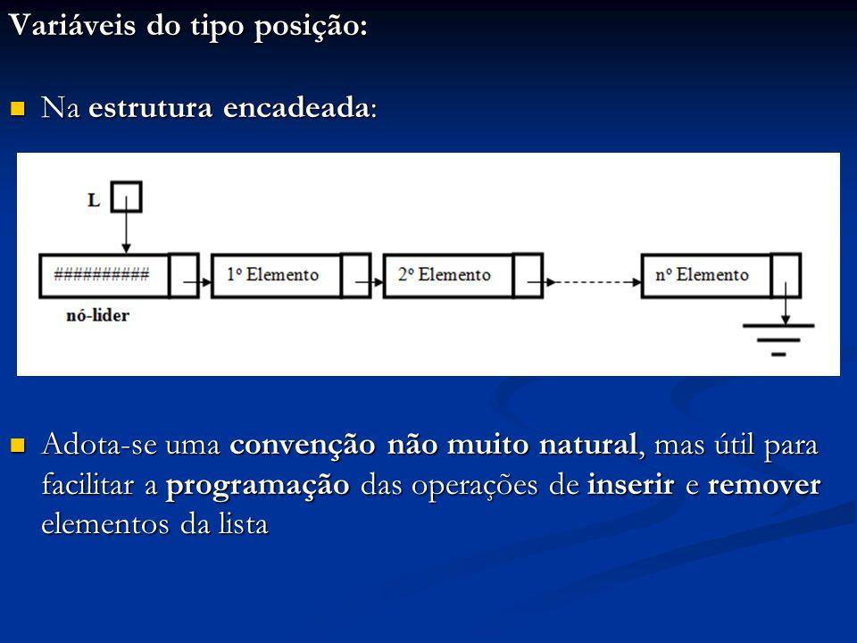 Variáveis do tipo posição: Na estrutura encadeada: Na estrutura encadeada: Adota-se uma convenção não muito natural, mas útil para facilitar a program