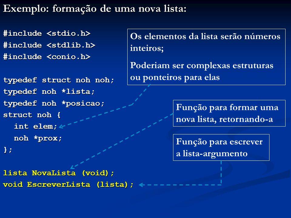Exemplo: formação de uma nova lista: #include #include typedef struct noh noh; typedef noh *lista; typedef noh *posicao; struct noh { int elem; noh *prox; }; lista NovaLista (void); void EscreverLista (lista); Função para formar uma nova lista, retornando-a Função para escrever a lista-argumento Os elementos da lista serão números inteiros; Poderiam ser complexas estruturas ou ponteiros para elas