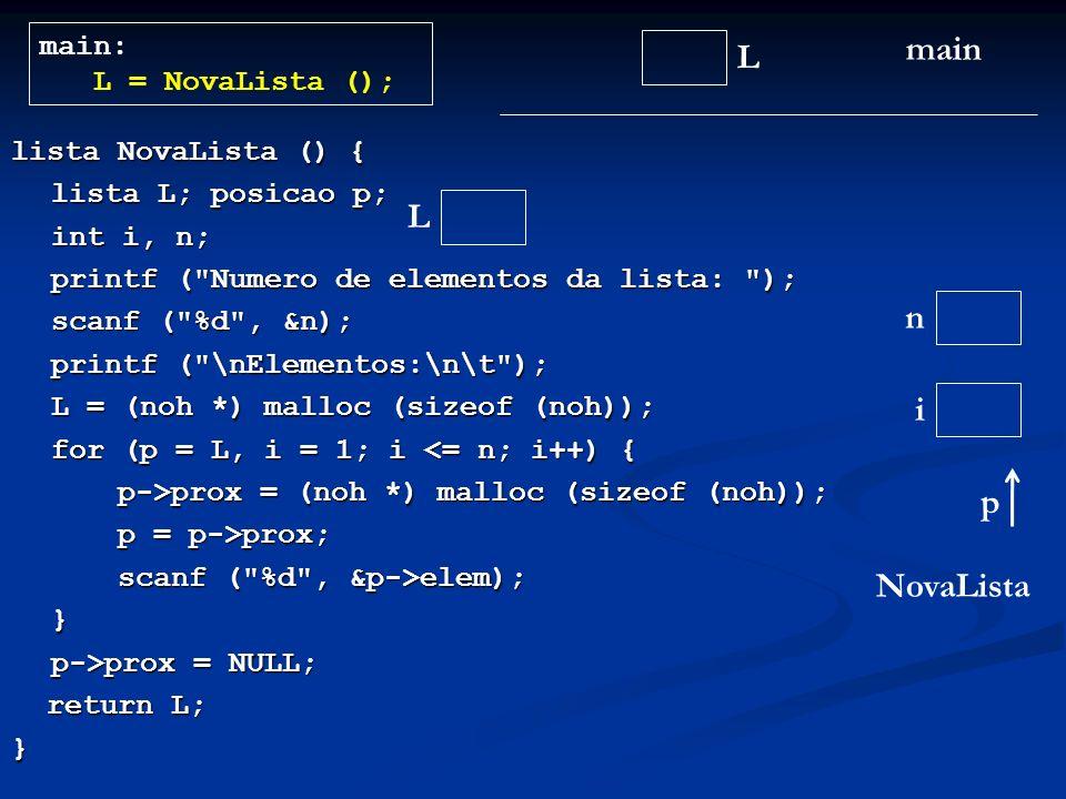 lista NovaLista () { lista L; posicao p; int i, n; printf ( Numero de elementos da lista: ); scanf ( %d , &n); printf ( \nElementos:\n\t ); L = (noh *) malloc (sizeof (noh)); L = (noh *) malloc (sizeof (noh)); for (p = L, i = 1; i <= n; i++) { p->prox = (noh *) malloc (sizeof (noh)); p = p->prox; scanf ( %d , &p->elem); } p->prox = NULL; return L; return L;} L main main: L = NovaLista (); NovaLista L n i p