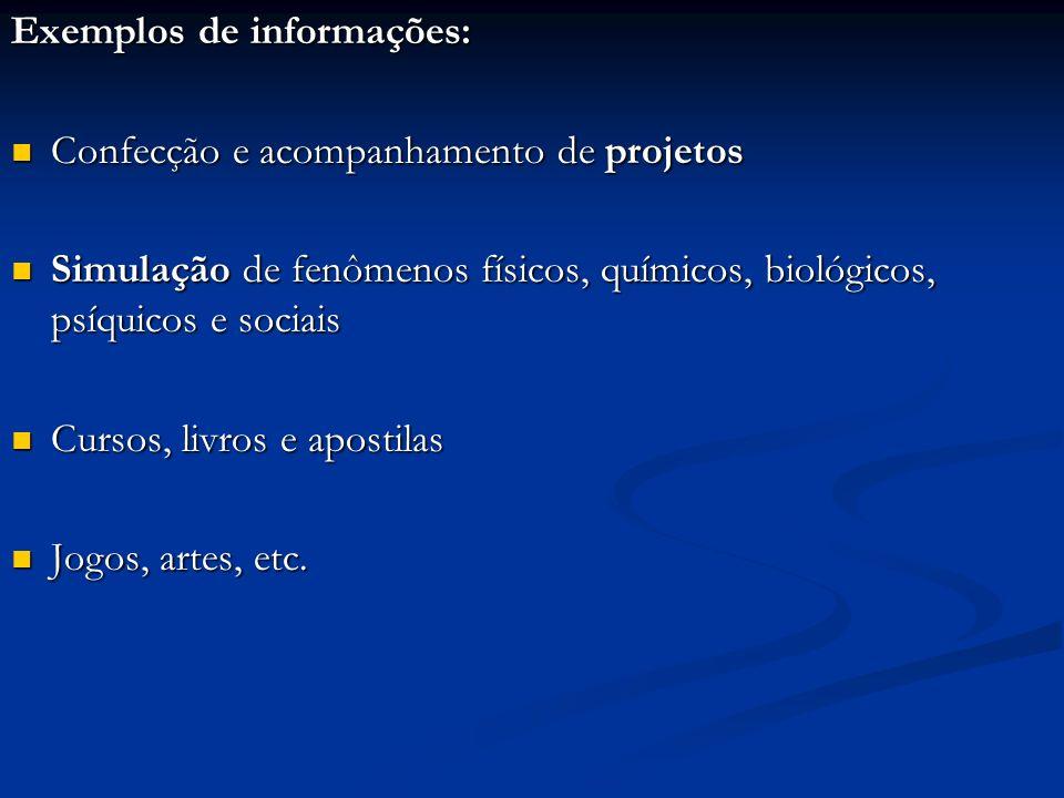 Exemplos de informações: Confecção e acompanhamento de projetos Confecção e acompanhamento de projetos Simulação de fenômenos físicos, químicos, bioló