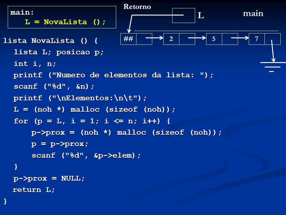 lista NovaLista () { lista L; posicao p; int i, n; printf ( Numero de elementos da lista: ); scanf ( %d , &n); printf ( \nElementos:\n\t ); L = (noh *) malloc (sizeof (noh)); L = (noh *) malloc (sizeof (noh)); for (p = L, i = 1; i <= n; i++) { p->prox = (noh *) malloc (sizeof (noh)); p = p->prox; scanf ( %d , &p->elem); } p->prox = NULL; return L; return L;} L main main: L = NovaLista (); ## 257 Retorno