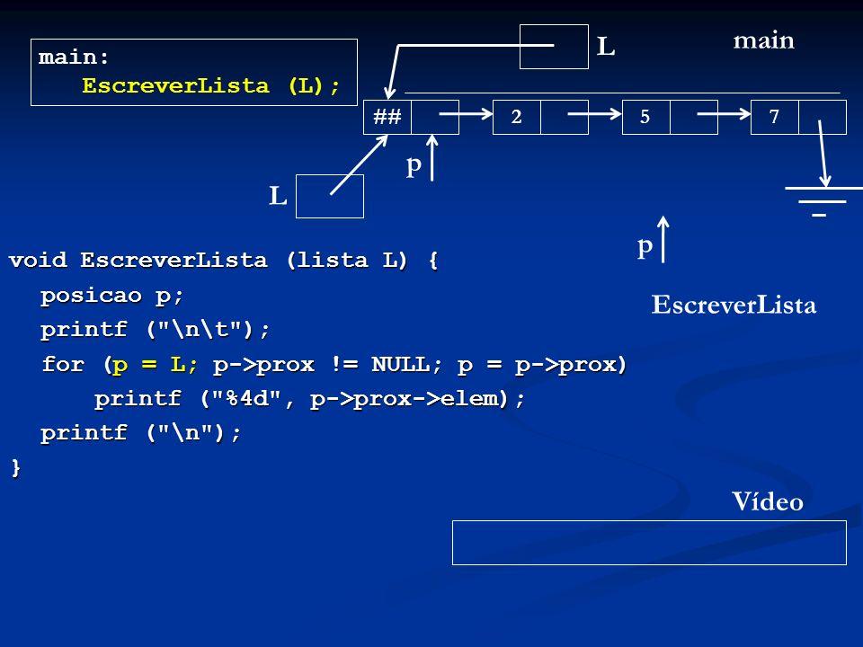 void EscreverLista (lista L) { posicao p; printf ( \n\t ); for (p = L; p->prox != NULL; p = p->prox) printf ( %4d , p->prox->elem); printf ( \n ); } L main main: EscreverLista (L); ## 257 EscreverLista L p Vídeo p
