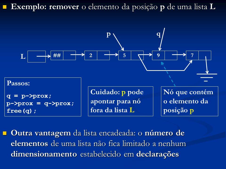 Exemplo: remover o elemento da posição p de uma lista L Exemplo: remover o elemento da posição p de uma lista L Outra vantagem da lista encadeada: o número de elementos de uma lista não fica limitado a nenhum dimensionamento estabelecido em declarações Outra vantagem da lista encadeada: o número de elementos de uma lista não fica limitado a nenhum dimensionamento estabelecido em declarações p Nó que contém o elemento da posição p Passos: q = p->prox; p->prox = q->prox; free(q); q ##257 L 9 Cuidado: p pode apontar para nó fora da lista L