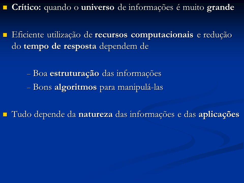 Crítico: quando o universo de informações é muito grande Crítico: quando o universo de informações é muito grande Eficiente utilização de recursos com