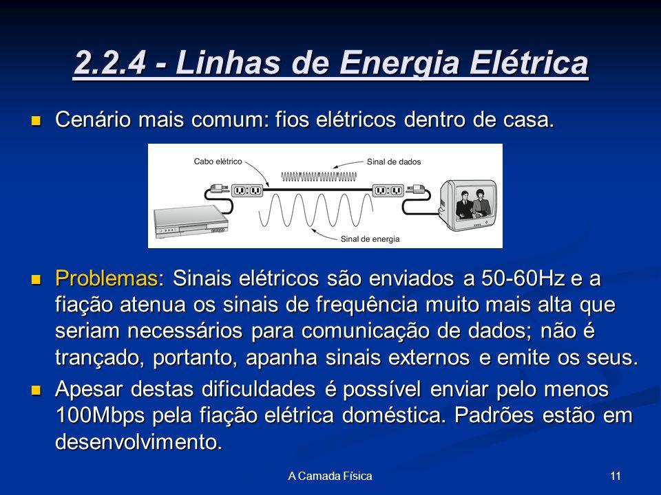 11A Camada Física 2.2.4 - Linhas de Energia Elétrica Cenário mais comum: fios elétricos dentro de casa. Cenário mais comum: fios elétricos dentro de c