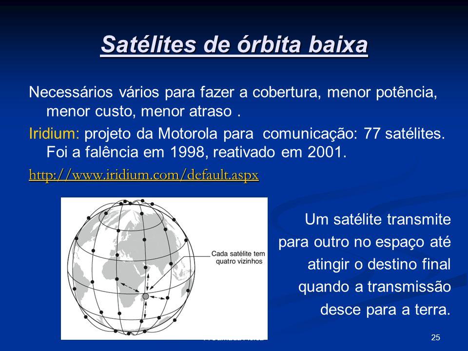 25A Camada Física Satélites de órbita baixa Necessários vários para fazer a cobertura, menor potência, menor custo, menor atraso. Iridium: projeto da