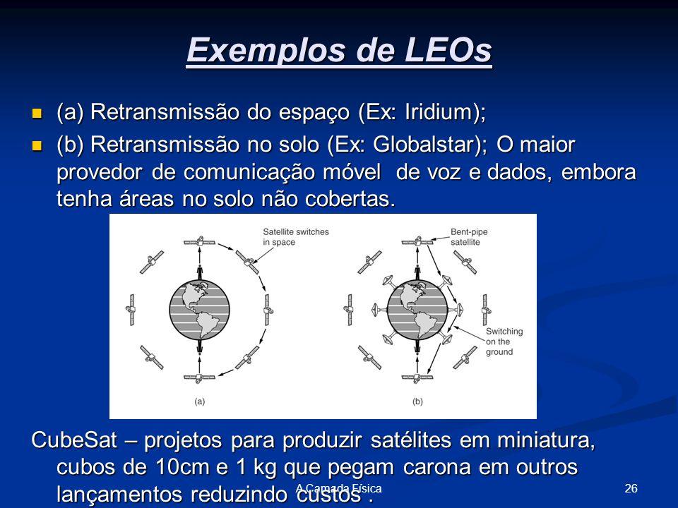 26A Camada Física Exemplos de LEOs (a) Retransmissão do espaço (Ex: Iridium); (a) Retransmissão do espaço (Ex: Iridium); (b) Retransmissão no solo (Ex