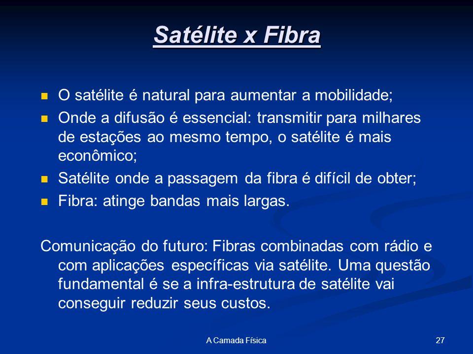 27A Camada Física Satélite x Fibra O satélite é natural para aumentar a mobilidade; Onde a difusão é essencial: transmitir para milhares de estações a